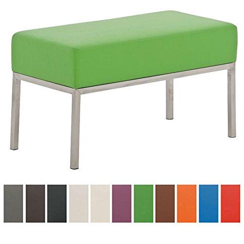 CLP 2er-Sitzbank LAMEGA mit hochwertiger Polsterung und pflegeleichtem Kunstlederbezug I Moderne Sitzbank mit robustem Edelstahlgestell Grün