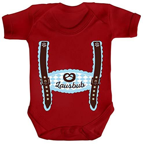 ShirtStreet Wiesn Strampler Bio Baumwoll Baby Body Kurzarm Jungen Mädchen Oktoberfest - Junge Lederhose Lausbub, Größe: 12-18 Monate,Red
