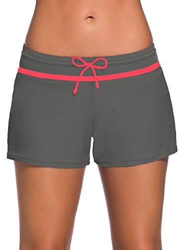 KISSMODA Damen Badeshorts Badebekleidung Tankini Boardshorts Boyshorts Bottom Taupe Red Strap Trim XX-Large