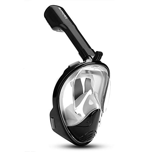 Vaincre 180° Full Face Snorkel Mask Panoramic View Anti-Fog,Anti-Leak Snorkeling Design with Adjustable Head Straps-See Larger Viewing Area Than Traditional Masks for Adults Youth (Black S M)
