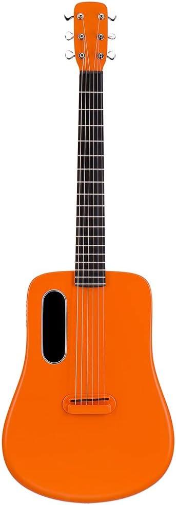 RYSF Guitarra acústica eléctrica de Fibra de Carbono Efectos de Guitarra Guitarra de Viaje de 36 Pulgadas con Bolsa/púa/Cable USB Lava Music (Color : Orange)