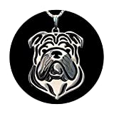 Bulldog Sterling Silver Necklace by Ginger Lyne Ears Down Puppy Dog Pet Doggie Animal Paw Print Heart Jewelry for Pit Mom Women Girls Teens