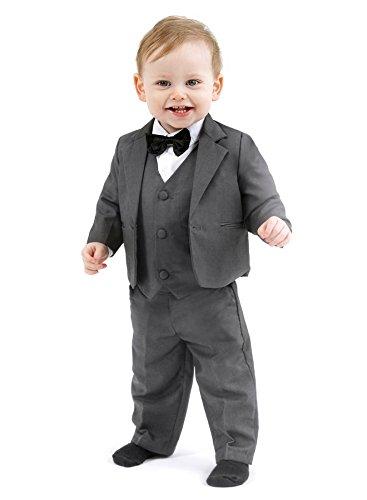 JULI 5tlg. schicker Taufanzug, Baby-Anzug, anthrazit Gr. 62 (fällt sehr groß aus)