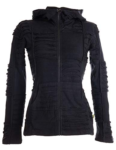 Vishes - Alternative Bekleidung - Damen Patchwork Jacke mit Cutwork und Zipfelkapuze schwarz-Uni 40