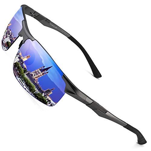 PUKCLAR Sonnenbrille Herren Polarisierte Sportbrille Fahrerbrille Al-Mg Metall Rechteckig Rahme Cat 3 CE