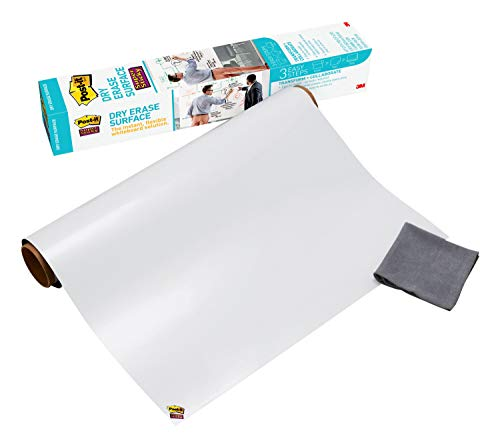 Post-it Dry Erase Whiteboard Film Surface for Walls, Doors, Tables, Chalkboards, Whiteboards, and More, Removable, Stain-Proof, Easy Installation, 3 ft x 2 ft Roll , White, 3 x 2 Feet (DEF3x2)