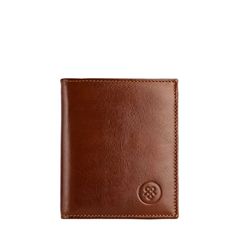 Maxwell Scott Leather Wallet with Coin Section - Rocca Tan