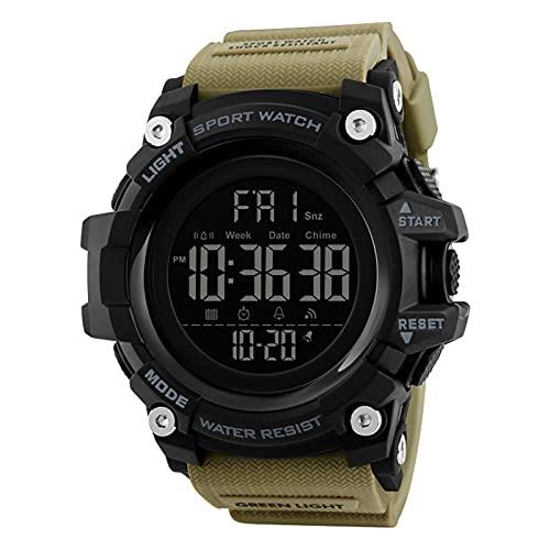 JTTM Reloj Digital Impermeable Multifunciones Deportivo Al Aire Libre Reloj Watch Man para Hombre Chicos Estudiantes,Caqui