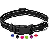 Amazon Brand - Umi - Collar de Perro, Reflectante, Ajustable, Nylon, para Perros pequeños y Grandes, Cachorros y Gatos, en Muchos Colores y Tallas Distintos, Negro, M