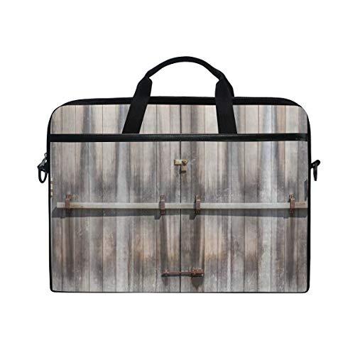 VICAFUCI New 15-15.4 Zoll Laptop Tasche,Umhängetasche,Handtasche,Rustikaler Retro- Eingang mit Vorhängeschloß zum verlassenen Haus-hölzernen Tor-Rauen Eichen-Landwirtschafts-Bild