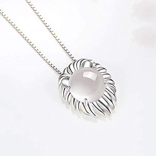YXDEW Collar de Cadena Colgante de Suerte Leo 925 Collar de Plata esterlina para Mujer Constelación Zodiaco 12 Horóscopo Astrología Colgante Collar Collar de Regalo de cumpleaños para Mujeres honrada