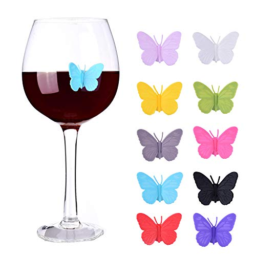 glass markers Wine Glass Markers Set of 10 Silicone Drink Glass Charms &Wine Charm Tags with Suction Cup (Butterfly assorted)
