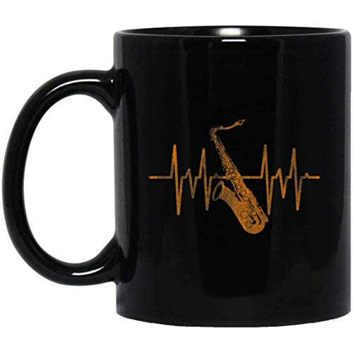 Heartbeat saxofoon jazz muziek geschenken 11 oz. Zwarte mok