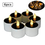 Solar Power Tealight, Advocator Solar Powered 6 Pcs Warm White Flickering Flameless Candle Lights Waterproof Romantic Fake Tealight Candle for Wedding Holiday,Window,Home,Garden,Outdoor Decoration