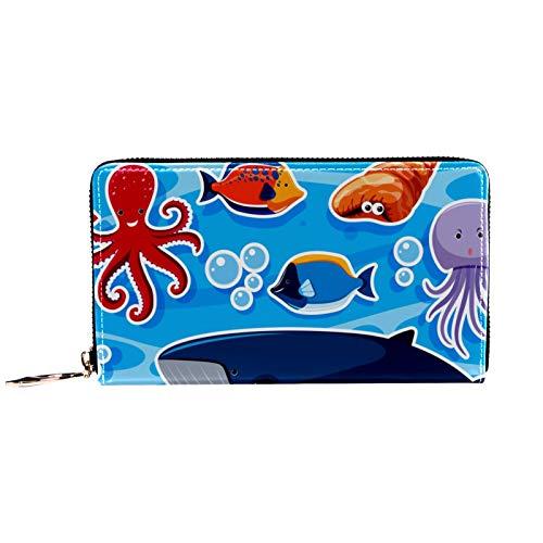 Portefeuille et pochette de téléphone pour femme avec fermeture éclair sur le pourtour, pieuvre géante en cas de chute d'un navire, sac de voyage en cuir, porte-cartes, organiseur de bracelets