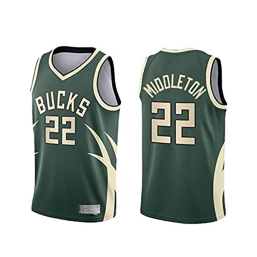 xiaotianshi Jerseys Men's, Milwaukee Bucks # 22 Khris Middleton NBA Transpirable Resistente al Desgaste Bordado de Malla Baloncesto Swingman Jerseys Camiseta Deportiva Jerseys,Verde,M