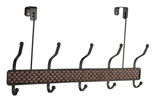 Over The Door Hook Rack - 5 Double Hooks on a Two Tone Bronze Weaved Base. Great for Towels, Coats, Pockt Books, Scarves, and More.