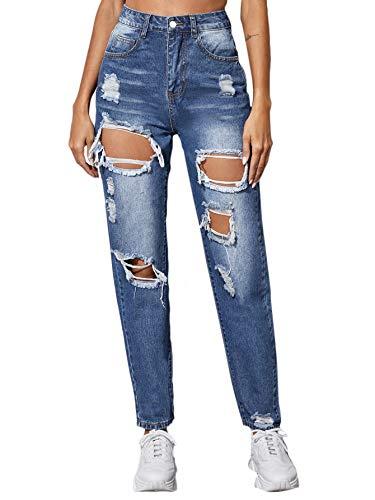 SweatyRocks Women's Ripped Boyfriend Jeans Distressed Denim Straight Leg Jeans Blue Small New Mexico