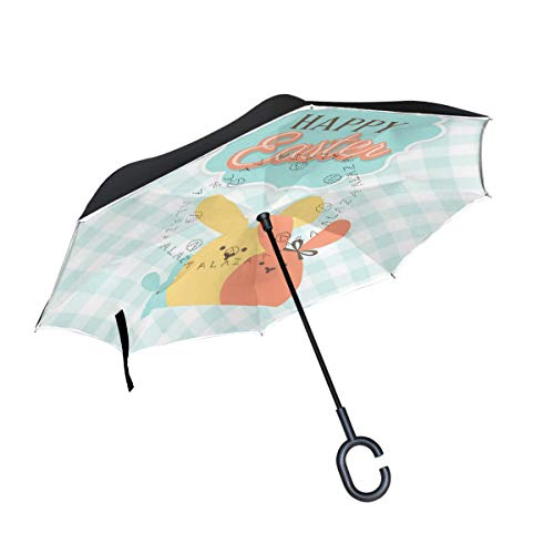 Pig One Happy Easter Bunnies Reverse Umbrella Inverted Umbrella Windproof Umbrellas UV Protection for Car Rain Outdoor with C-Shaped Handle