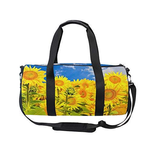 MNSRUU Große Reisetasche mit Sonnenblumenfeld, Unisex, hohe Kapazität, großes Gepäck, Sporttasche
