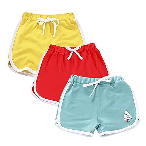 Rolanko Pantalones Cortos Niñas, Verano Algodón Deportivos Pantalón para Niños para Baile y Corree, 3 Packs (Amarillo Rojo Verde, Tamaño:150)