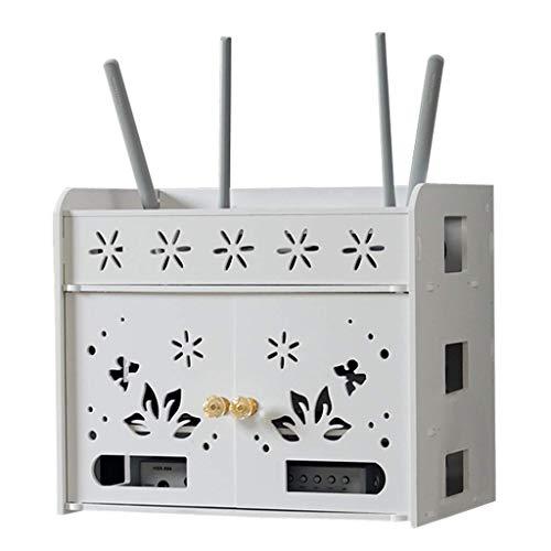 Geyao Caja de almacenamiento WiFi para televisión, caja de almacenamiento para WiFi, sin perforaciones, WiFi para decoración de sala de estar (color: blanco, tamaño: 31 x 21,5 x 32,5 cm)