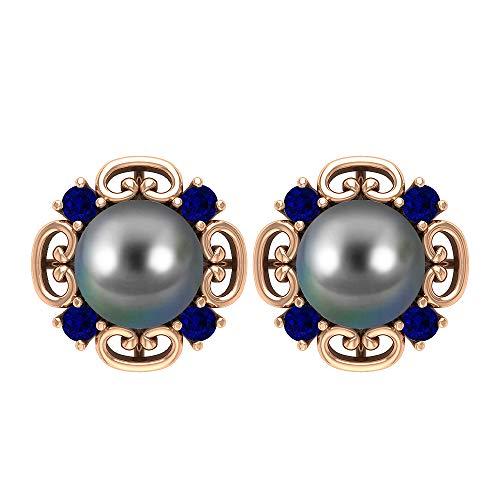 Orecchini in oro Art Deco con perle di Tahiti da 6 carati, con zaffiro blu da 1/2 ct (perla tonda di Tahiti, 7 mm, colore: nero) 14K Oro rosa, Paio