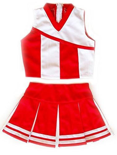 Girls' Cheerleader Cheerleading Outfit Uniform Costume Cosplay Red/White (S / 2-5)