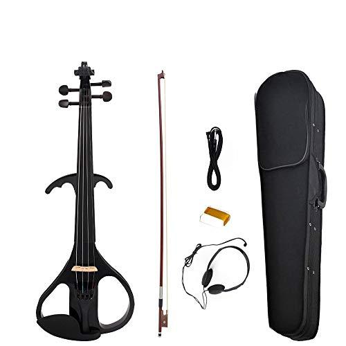 Naomi - Violín eléctrico de madera maciza para violín, tamaño completo 4/4, color negro