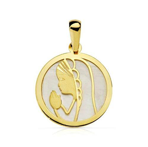 Medalla Virgen niña Primera comunión - Oro Ley 18K y Nácar