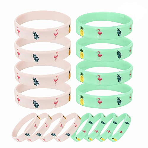 24 Pack Pineapple Pink Flamingo Silicone Wristbands Bracelets, Luau Tropical Hawaiian Birthday Party Favors for Kids, Goody Bag Flamingo Supplies Gifts for Boys and Girls