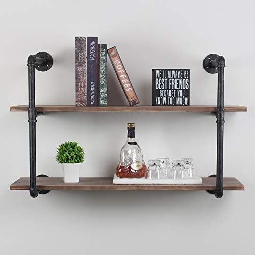 Homissue 3-Tier Industrial Solid Wood Pipe Wall Shelving Unit,Wall Shelf for Living Room