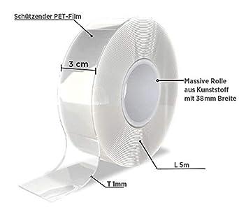 Nano Tape Doppelseitig Transparent und Extra stark Spurloses Nano Klebeband Multifunktionales Rutschfestes Nanotape extra d/ünn Doppelseitiges Klebeband Ultra Stark 5 Meter 1mm 1 x 5 Meter