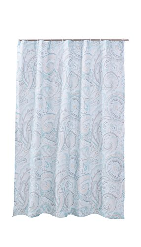 Levtex Home - Spruce Spa - Shower Curtain with Grommets - One Shower Curtain Panel 72 inch Length, 72 inch Width - Paisley - Spa, Teal, Grey, Taupe, Cream - 100% Cotton - Lined