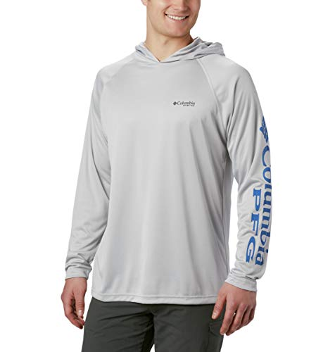 Columbia Men's PFG Terminal Tackle Hoodie,Cool Grey/Vivid Blue Logo,Large