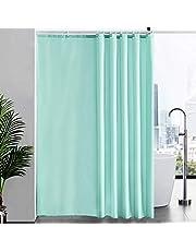 Furlinic Zasłona prysznicowa, bardzo długa, tekstylna, ochrona przed pleśnią, do wanny i prysznica, z materiału, antybakteryjna, nadaje się do prania, zielona, z 12 pierścieniami do zasłony prysznicowej, bardzo duża, 200 x 240 cm.