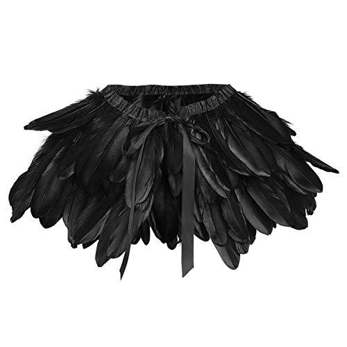 ANSUG Mantón de Plumas, natural del cabo del mantón de las plumas gótica Chal de plumas para mujer para Cóctel de carnaval 1920 fiesta halloween Disfraz de cuervo maléfico