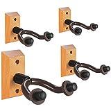Guitar Wall Mount Hanger 4 Pack, Hardwood Guitar Hanger Wall Hook Holder St