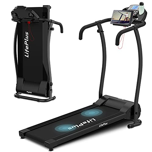 Folding Treadmill Electric Walking Running Exercise Machine Compact Foldable Treadmill with 12 Preset Program 0-6 MPH Speed LCD Display Portable Wheels Safety Key Cup Holder for Home Gym