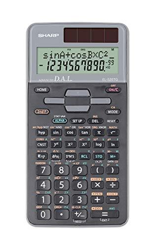 Sharp EL-520TG-GY Wissenschaftlicher Schulrechner (D.A.L.-Eingabe, Solar-/Batteriebetrieben) silber