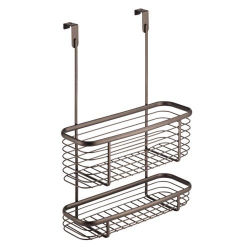 InterDesign Axis Over the Cabinet Kitchen Storage Organizer Basket for Aluminum Foil, Sandwich Bags, Cleaning Supplies - 2-Tier, Bronze