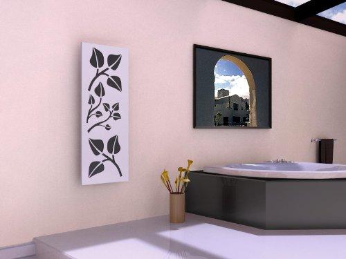 Badheizkörper Design Leaves 2, HxB: 120 x 47 cm, 799 Watt, moonstone-grau (metallic) / weiß (Marke: Szagato) Made in Germany/Bad und Wohnraum-Heizkörper (Mittelanschluss)