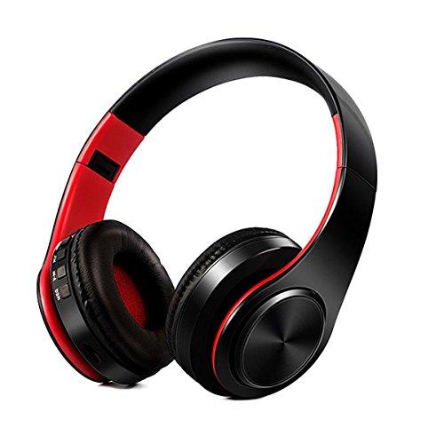 KINGCOO Drahtloser Kopfhörer, Over-Ear Faltbarer Sport und Laufendes Bluetooth Stereo Kopfhörer mit Mikrofon für iPhone iPad und alle Bluetooth fähigen Geräte,Unterstützungs TF Karte (Schwarz/Rot)