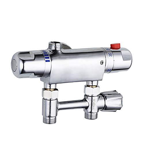 MOMIN Válvula de desviador Válvula de Ducha de Montaje en Pared Cuerpo de latón Cromo Acabado G1 / 2 Mezclador de Barra de Ducha termostática Ducha de Ducha Fija baño