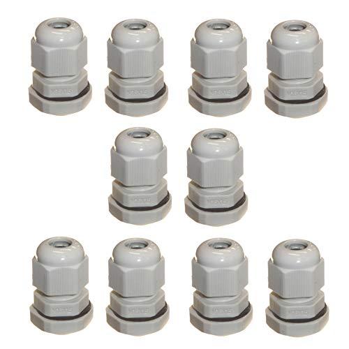 10 Stück grau M16 16 mm TRS Kompressionsverschraubungen für 4–8 mm Kabel, wasserdicht IP68 mit Gegenmutter und Unterlegscheibe