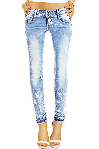 be Styled Damenjeans Design Hosen Hüftjeans Damen mit weißen Farbflecken, röhriger Skinny Slim Schnitt j25r 36/S hellblau