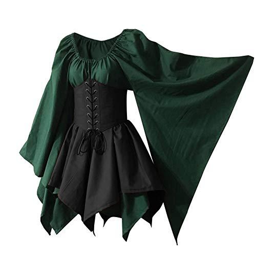 Women's Renaissance Medieval Costume Flare Sleeve Corset Skirt Overskirt Elven Archer Fancy Dress Irish Over Gown 2pcs Set (L, Green)