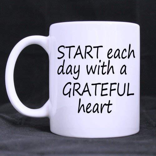 Tazza da caffè in ceramica bianca da 325 ml, tazza da caffè per Pasqua, giorno del Ringraziamento, citazioni motivazionali iniziano ogni giorno con un cuore grateful