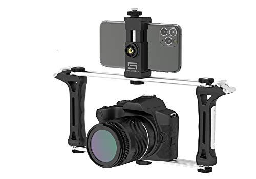DREAMGRIP Evolution Frame Universal Modular Video Rig – Filming Case with 2 Stabilizing Grips, 2 Tracks, 2 Smartphone Holders, Tripod Adapter-for iPhone 11 Pro-Max-XS,Samsung,Google Pixel,Huawei etc