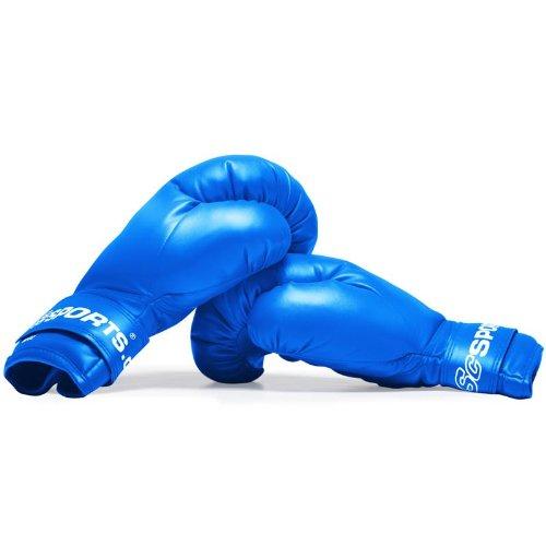 ScSPORTS Boxhandschuhe mit hohem, Training Gloves für Boxen und Kampfsport, Box-Handschuhe 12 oz, blau